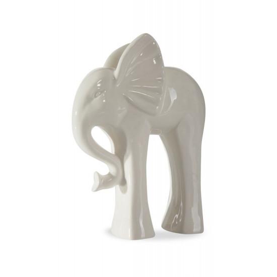 Figurka ceramiczna słoń 21 cm - 19 X 8 X 21 cm - ecru