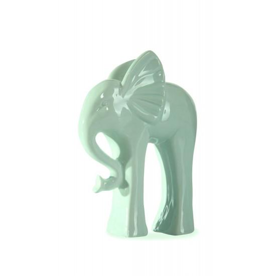 Figurka ceramiczna słoń kolor miętowy 18 cm - 13 X 6 X 18 cm - jasnozielony