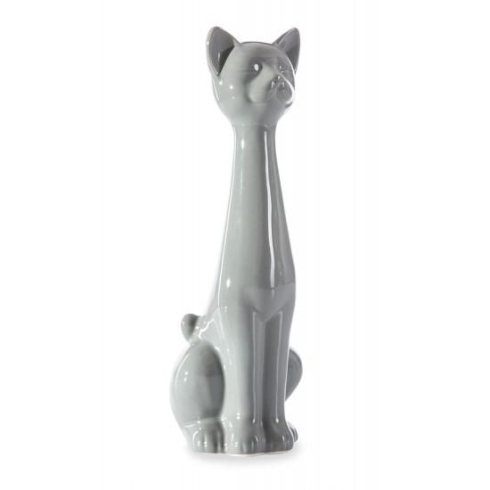 Figurka ceramiczna kot popielaty 32 cm - 13 X 11 X 32 cm - popielaty