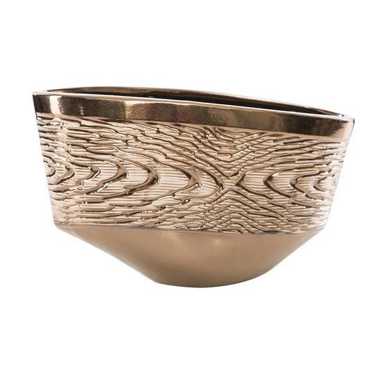 Wazon ceramiczny złoty struktura drewna 25 cm - 36 X 13 X 25 cm