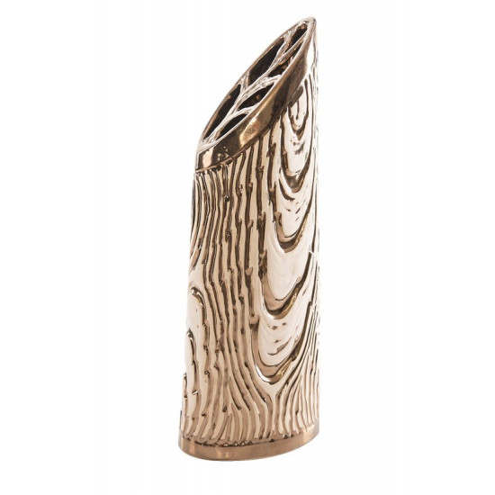 Wazon ceramiczny złoty struktura drewna 48 cm - 18 X 11 X 48 cm - złoty