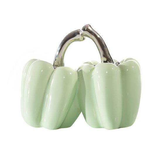 Figurka ceramiczna papryka kolor miętowy 11 cm - 13 X 7 X 11 cm - miętowy/srebrny