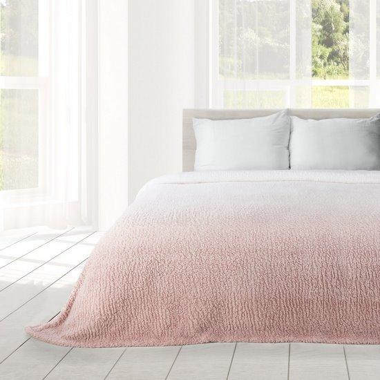 Miękki koc z efektem ombre różowy 170x210 - 170 X 210 cm - kremowy/różowy