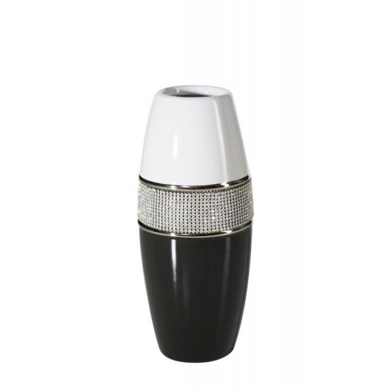 Świecznik ceramiczny biało-czarny z kryształkami glamou - ∅ 11 X 27 cm - biały/czarny
