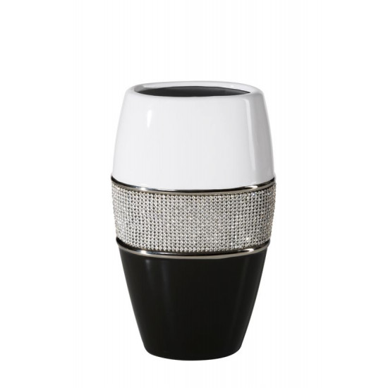Świecznik ceramiczny biało-czarny z kryształkami glamou - ∅ 14 X 25 cm - biały/czarny