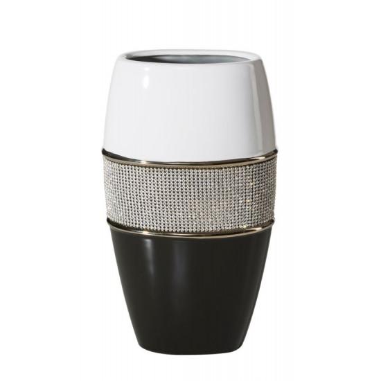 Świecznik ceramiczny biało-czarny z kryształkami glamou - 17 X 11 X 30 cm - biały/czarny