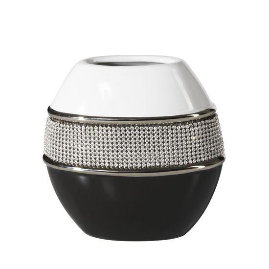 Świecznik ceramiczny biało-czarny z kryształkami glamou - 15 X 8 X 16 cm - biały/czarny