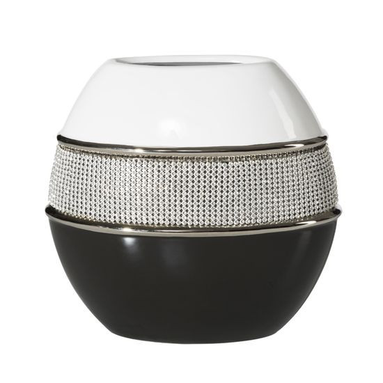 Świecznik ceramiczny biało-czarny z kryształkami glamou - 21 X 11 X 21 cm
