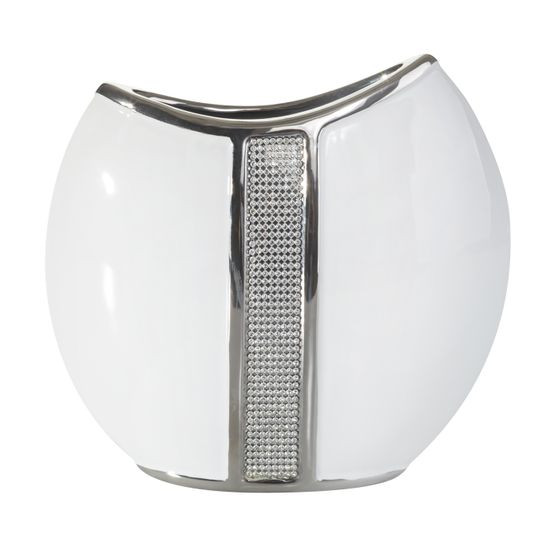 Wazon ceramiczny z pasem kryształów 22 cm - 24 X 9 X 22 cm