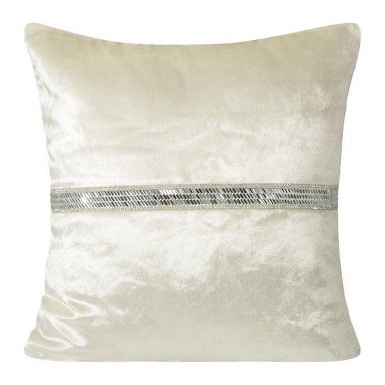 Poszewka na poduszkę kremowa ze srebrnym paskiem 40 x 40 cm  - 40x40 - kremowy