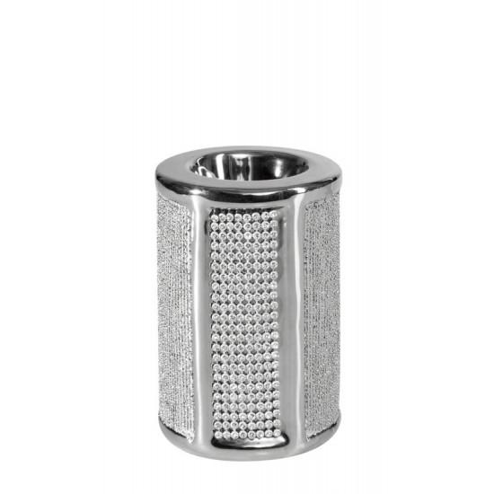 Świecznik ceramiczny z pasem kryształów 10 cm - ∅ 8 X 10 cm - srebrny