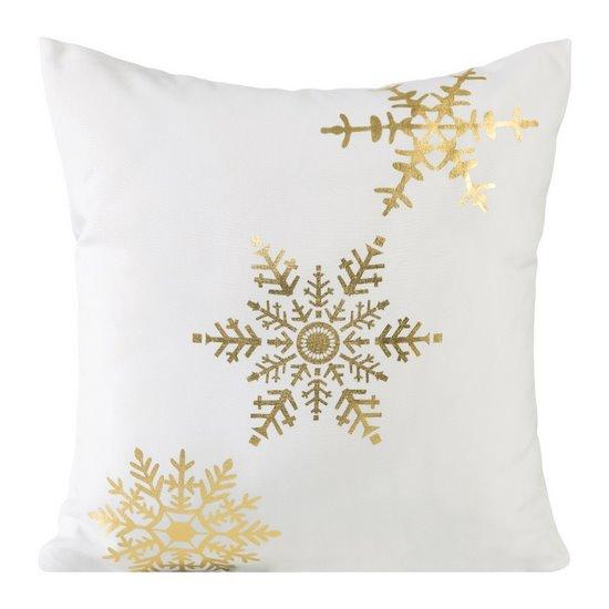 Poszewka na poduszkę biało złota płatek śniegu 40 x 40 cm  - 40 X 40 cm - kremowy/złoty