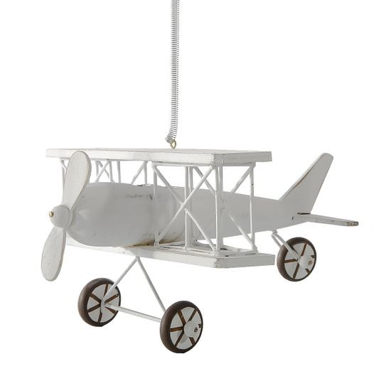 Figurka dekoracyjna samolot drewno 13 x 15 x 9 cm - 13 X 15 X 9 cm - biały