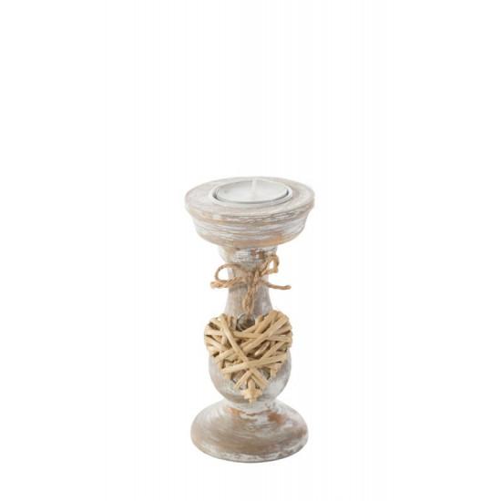 Świecznik eco przecierane drewno zawieszka serce 14 cm - ∅ 7 X 14 cm