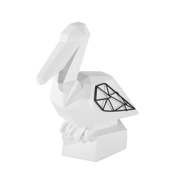 Figurka dekoracyjna pelikan biały geometryczny 21 cm - 19 X 11 X 21 - biały/czarny