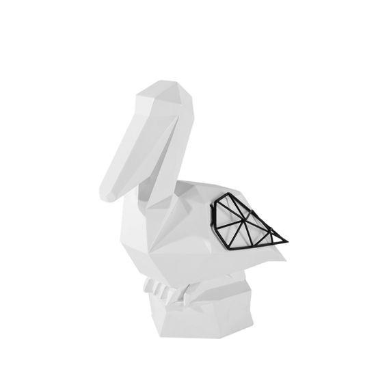 Figurka dekoracyjna pelikan biały geometryczny 27 cm - 23 X 13 X 27