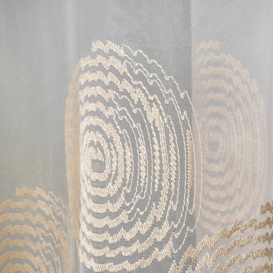 Firana haftowana beżowe ślimaczki biała przelotki  400x160cm - 400x160 - kremowy
