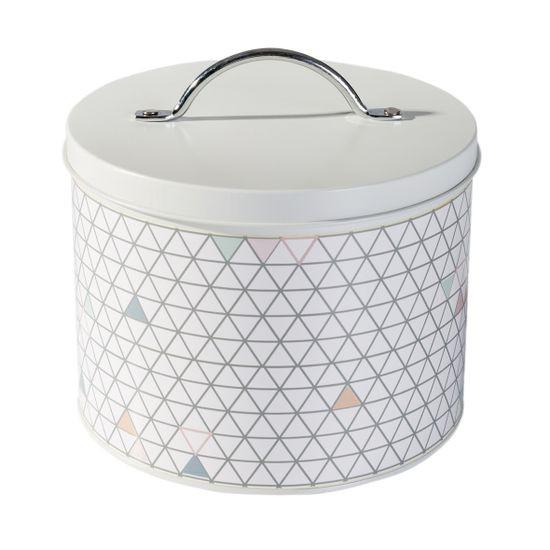 Pudełko dekoracyjne z metalu w trójkąty 16 cm - ∅ 18 X 16 cm - biały