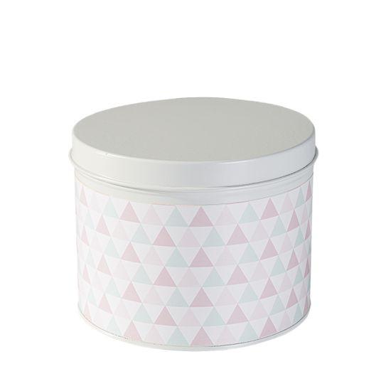 Pudełko dekoracyjne z metalu pastelowe trójkąty 11 cm - ∅ 13 X 11 cm