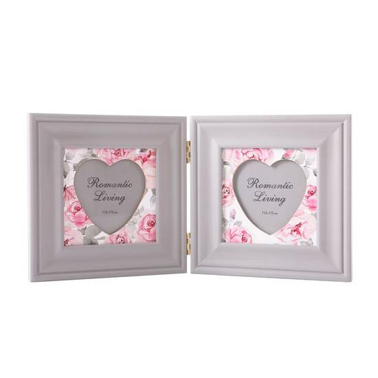 Ramka na zdjęcia z nadrukiem w kwiaty serce 34 x 2 x 17 - 34 X 2 X 17 cm - biały/różowy