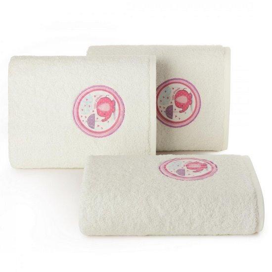 Ręcznik dziecięcy z aplikacją z różowym słonikiem baby shower 70x140cm - 70 X 140 cm - kremowy