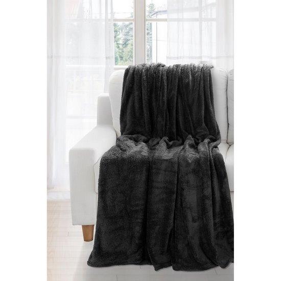 Koc miękki jednokolorowy czarny 150x200cm - 150x200 - srebrny