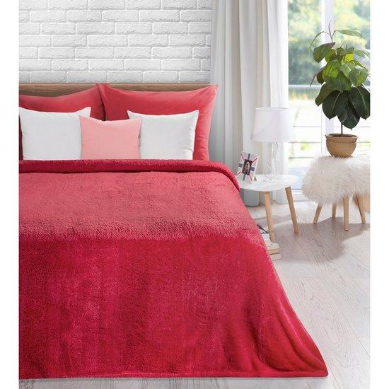 Koc miękki jednokolorowy czerwony 150x200cm - 150 X 200 cm
