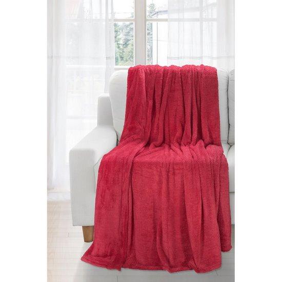 Koc miękki jednokolorowy czerwony 150x200cm - 150x200