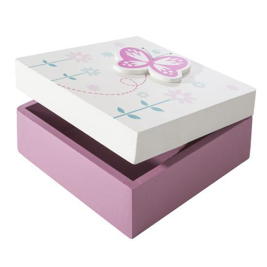 Szkatułka drewniana z motylkiem biało-różowa 12 cm - 12 X 12 X 6 cm