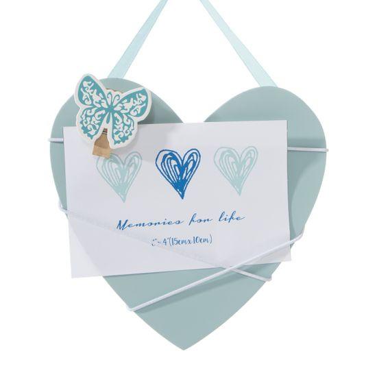 Ramka z drewna serce 19 x 1 x 18 cm - 19 X 1 X 18 cm - błękitny