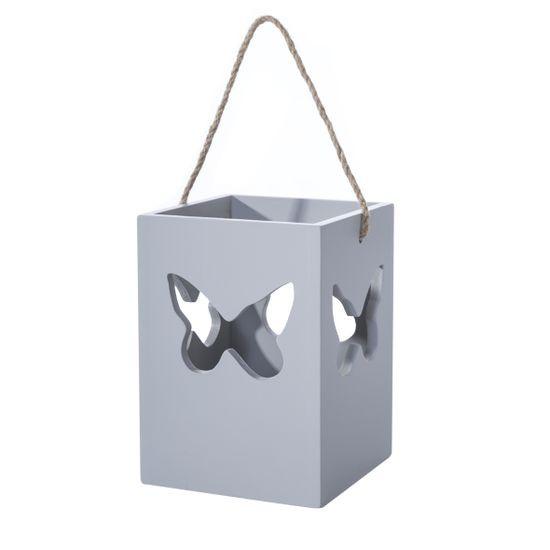 Lampion szary motyl 13 cm - 10 X 10 X 13 cm