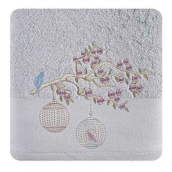 Ręcznik haftowany ptaszki na gałązce 50x90cm - 50 X 90 cm - srebrny