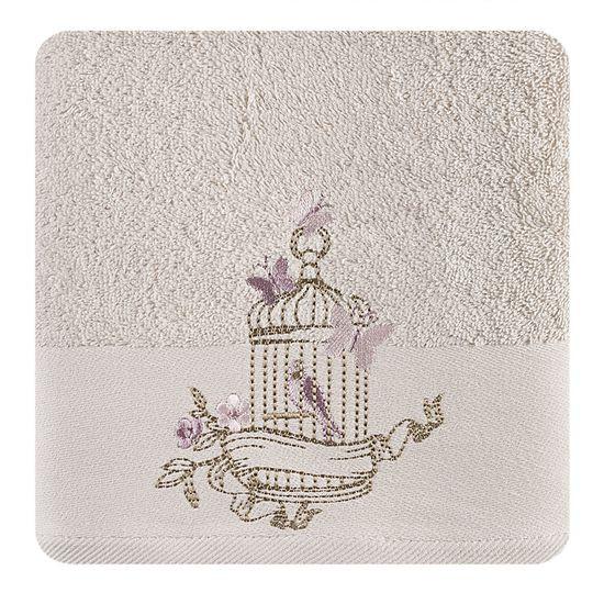 Ręcznik haftowany ptaszki w klatce beżowy 70x140cm - 70 X 140 cm