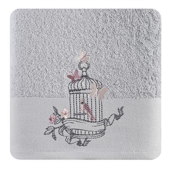 Ręcznik haftowany ptaszki w klatce popielaty 70x140cm - 70 X 140 cm - srebrny