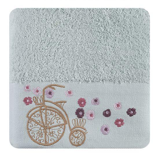 Ręcznik z haftem na bordiurze rower i kwiaty 50x90cm - 50 X 90 cm - niebieski