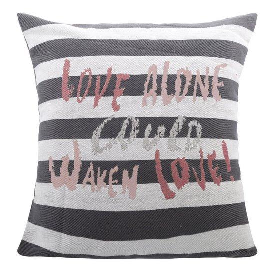 Poszewka na poduszkę love 40 x 40 cm biało szaro czerwona - 40x40 - szary / czerwony