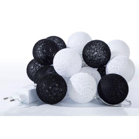 Girlanda świetlna cotton balls 385 cm 20 żarówek - 385cm/20szt. - biały/czarny