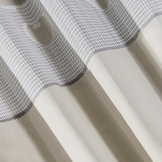 Zasłona beżowa z aplikacjami 140x250 cm przelotki - 140x250