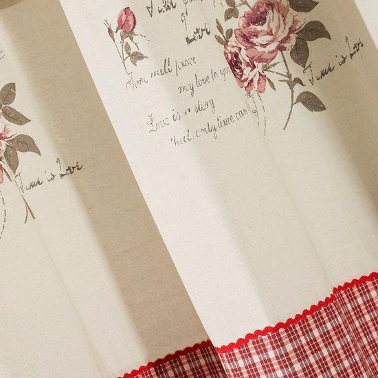 Zasłona łączona kratka+kwiaty rustykalna przelotki 140x250cm - 140x250