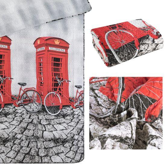 Narzuta dwustronna młodzieżowy wzór budki telefoniczne 170x210cm - 170x210 - szary / czerwony