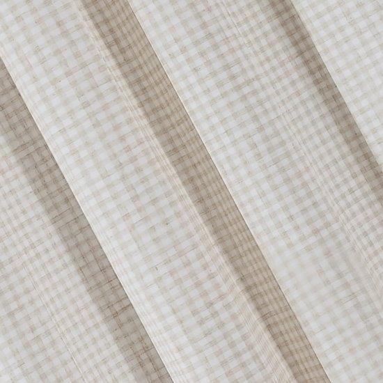 Zasłona w rustykalnym stylu krateczka+aplikacja beżowa szelki 140x250cm - 140x250 - beżowy / biały