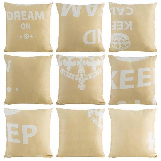 Poszewka na poduszkę 40 x 40 cm keep calm beżowa  - 40 X 40 cm - beżowy/kremowy