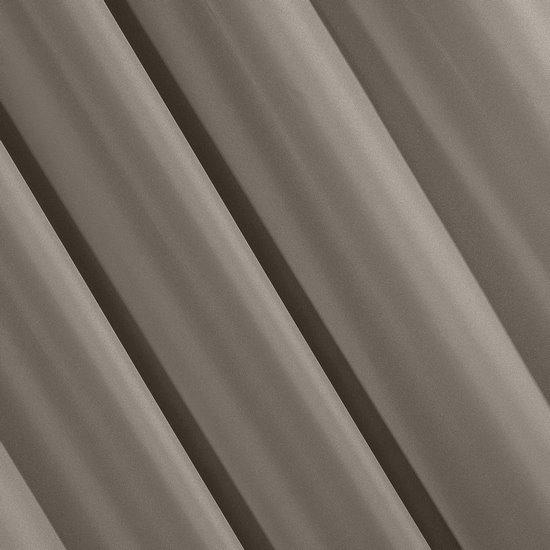 Jasnobrązowa gładka zasłona z matowej satyny 140x250 przelotki - 140x250