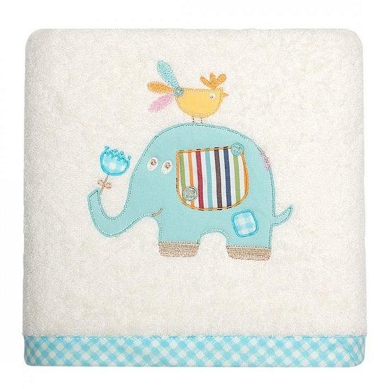 Ręcznik dziecięcy z aplikacją ze słonikiem i kapturkiem 75x75cm - 75 X 75 cm