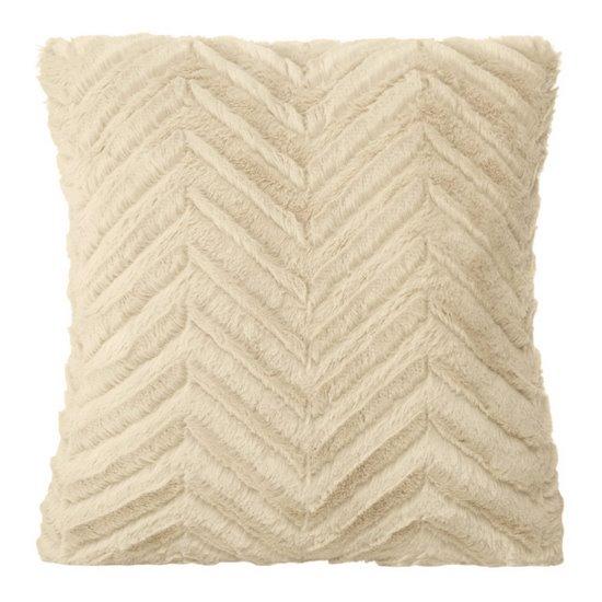 Poszewka na poduszkę 40 x 40 cm beżowa zygzag  - 40 X 40 cm