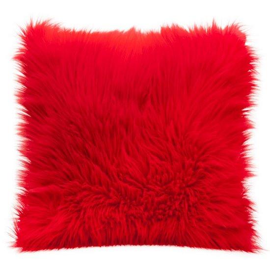 Poszewka na poduszkę miękkie futerko 45 x 45 cm czerwona - 45x45