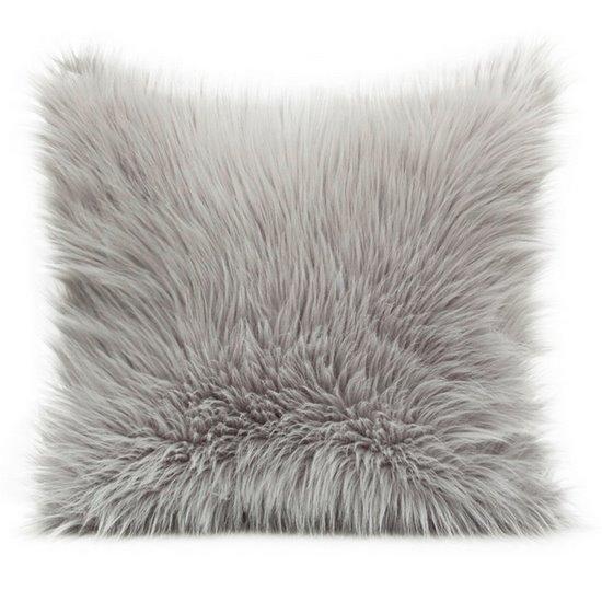 Poszewka na poduszkę miękkie futerko 45 x 45 cm szara/stalowa  - 45 X 45 cm
