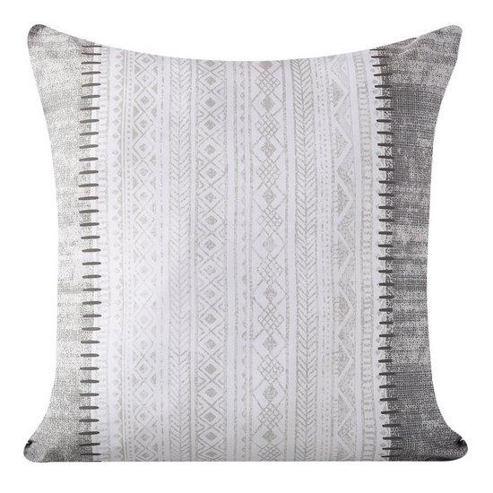 Poszewka dekoracyjna na poduszkę 45 x 45 kolor popielaty/biały - 45x45