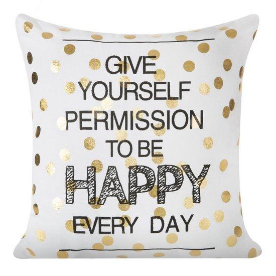 Poszewka na poduszkę 40 x 40 cm happy every day biało złota  - 40x40