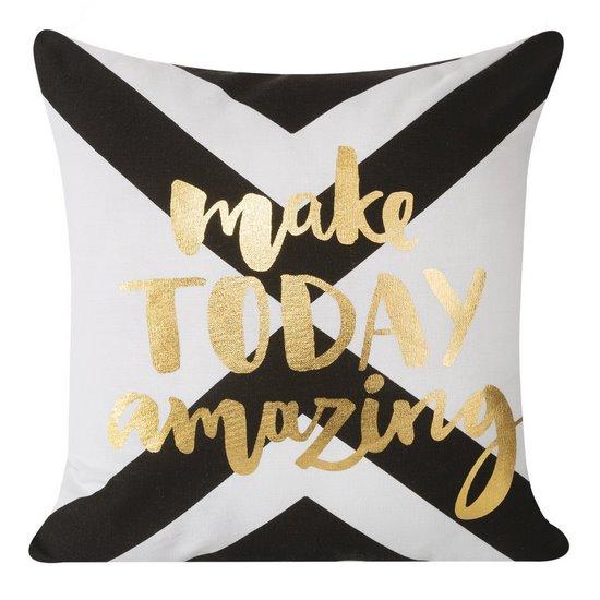 Poszewka na poduszkę 40 x 40 cm biało czarna make today amazing  - 40 X 40 cm - biały/złoty